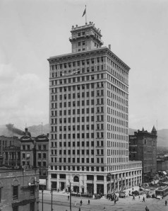 The Walker Bank building, built in 1912 and located in the heart of downtown. The bank struggled during the 1930s due to the Great Depression. Special Collections Department, J. Willard Marriott Library.