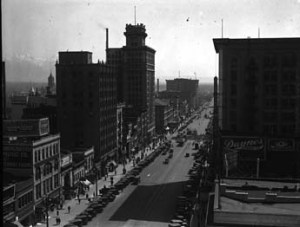 A view of Main Street, in downtown Salt Lake City, where most businesses were located. The image was made shortly before the onset of the Great Depression.